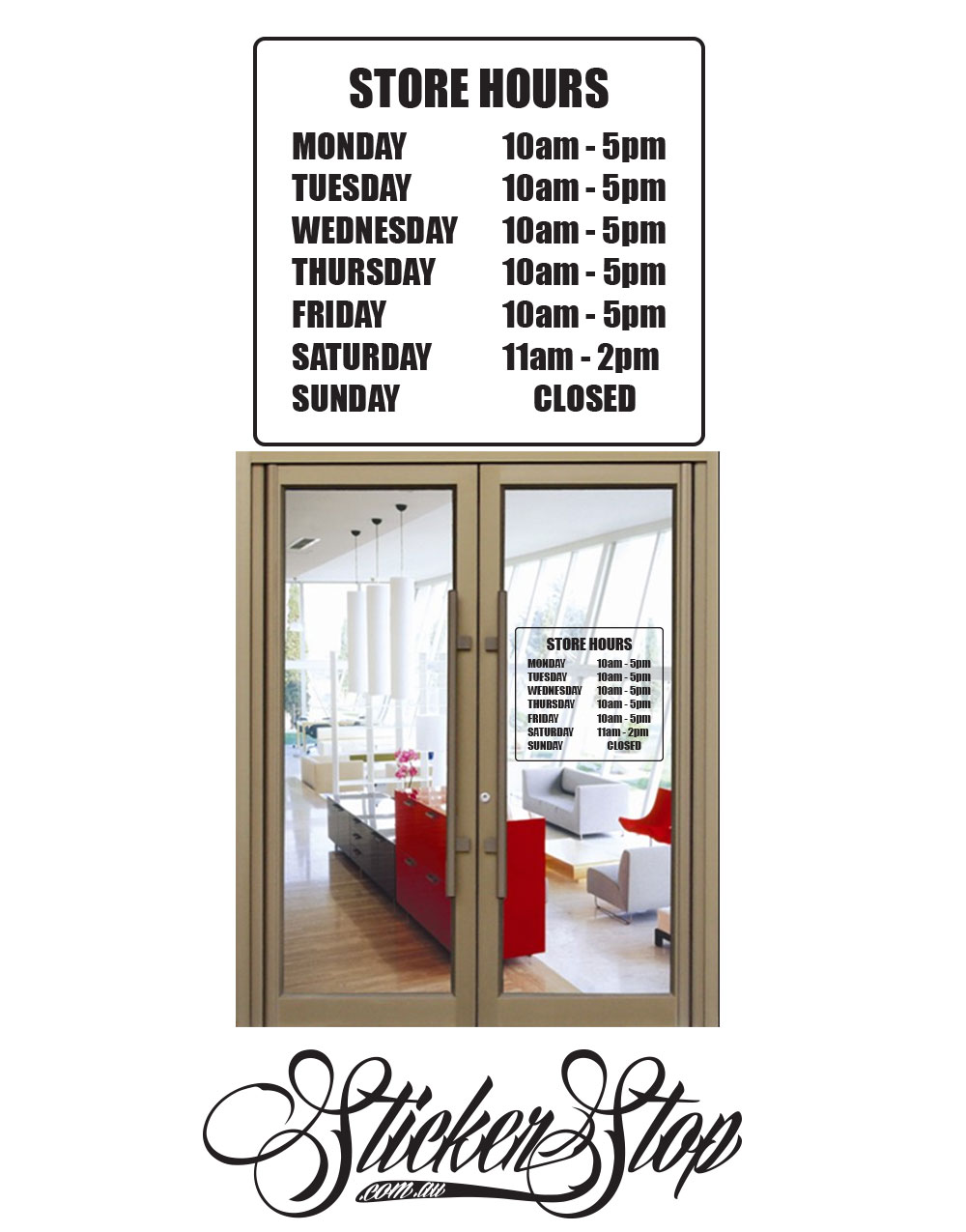 Store Hours Custom Sticker