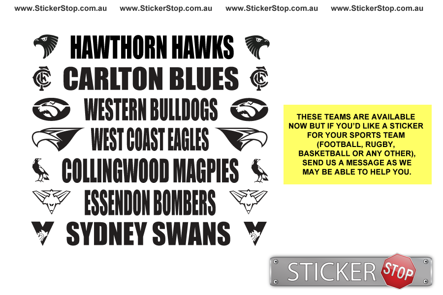AFL Team Windscreen Sticker/Decal