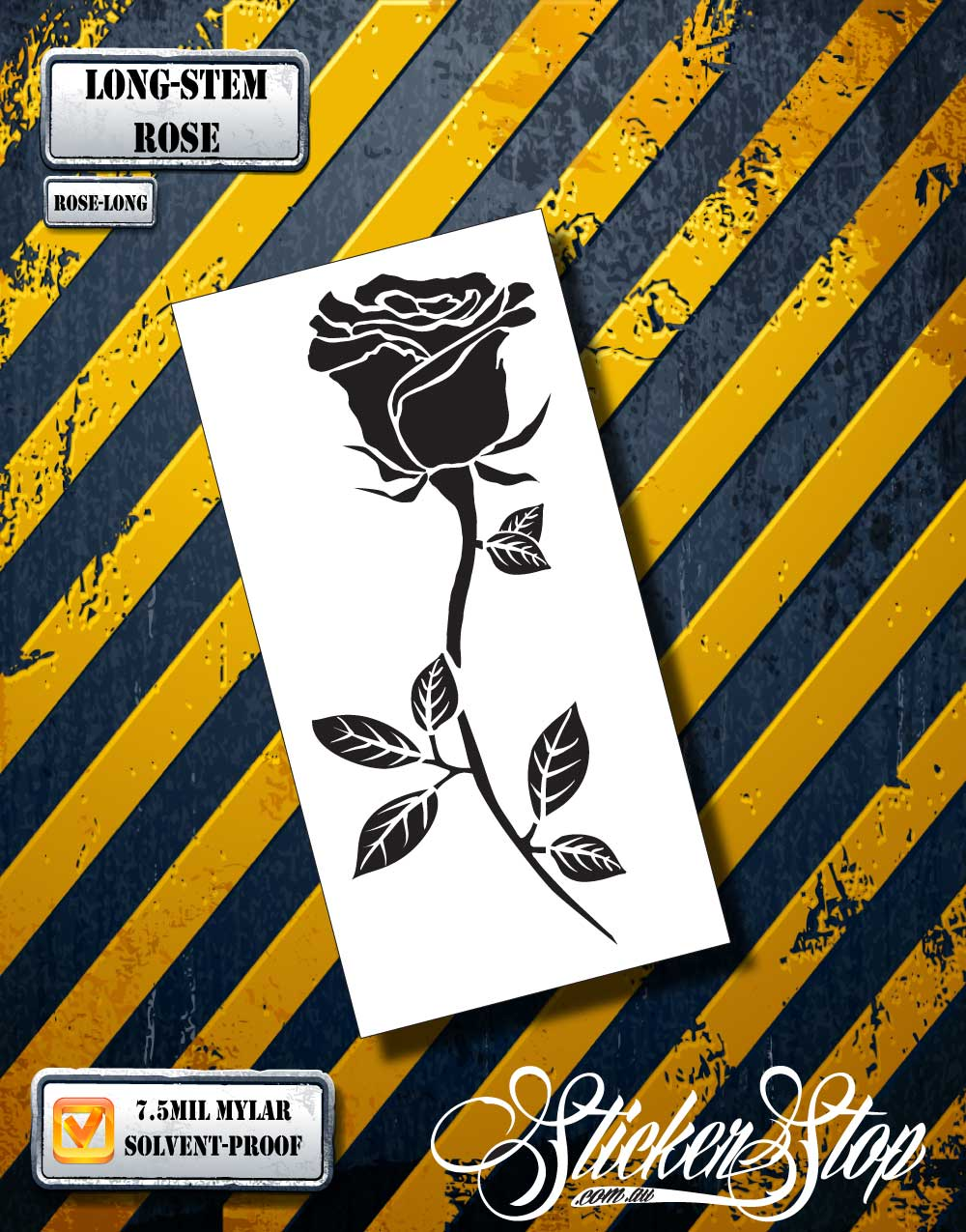 Long-Stem Rose Airbrush Stencil