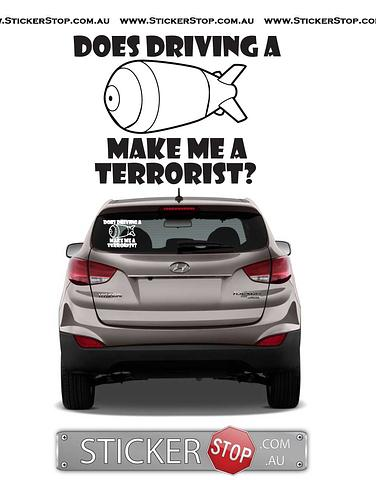 Driving a Bomb Sticker