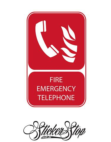 Emergency Telephone Fire Sticker