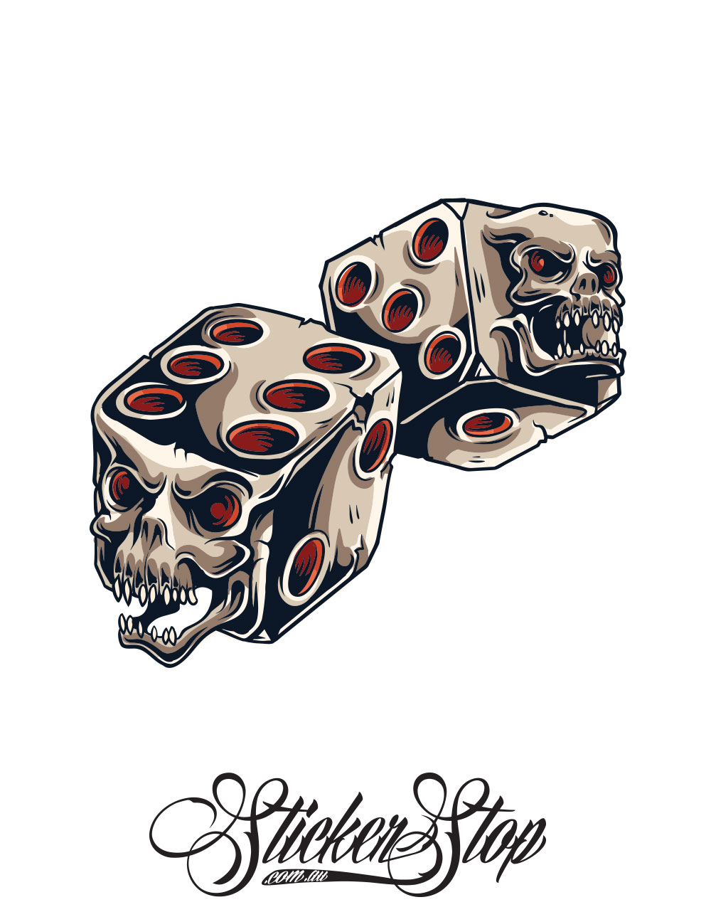 Evil Dice Gambling Colour Sticker