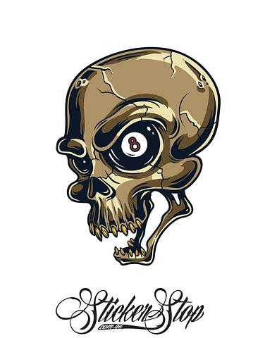 Eight Ball Skull Gambling Colour Sticker
