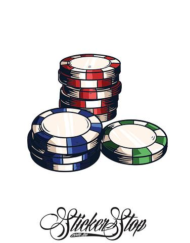 Casino Chips Gambling Colour Sticker