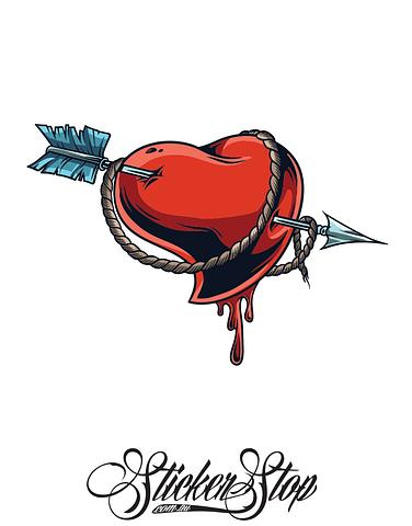 Arrow Heart Colour Sticker
