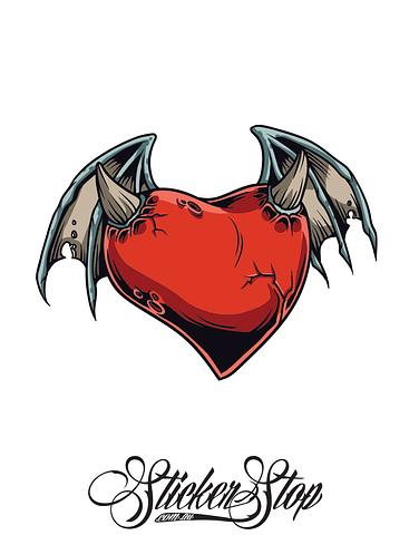 Winged Heart Colour Sticker