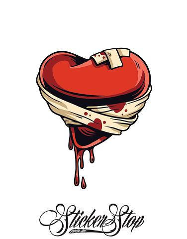 Wounded Heart Colour Sticker