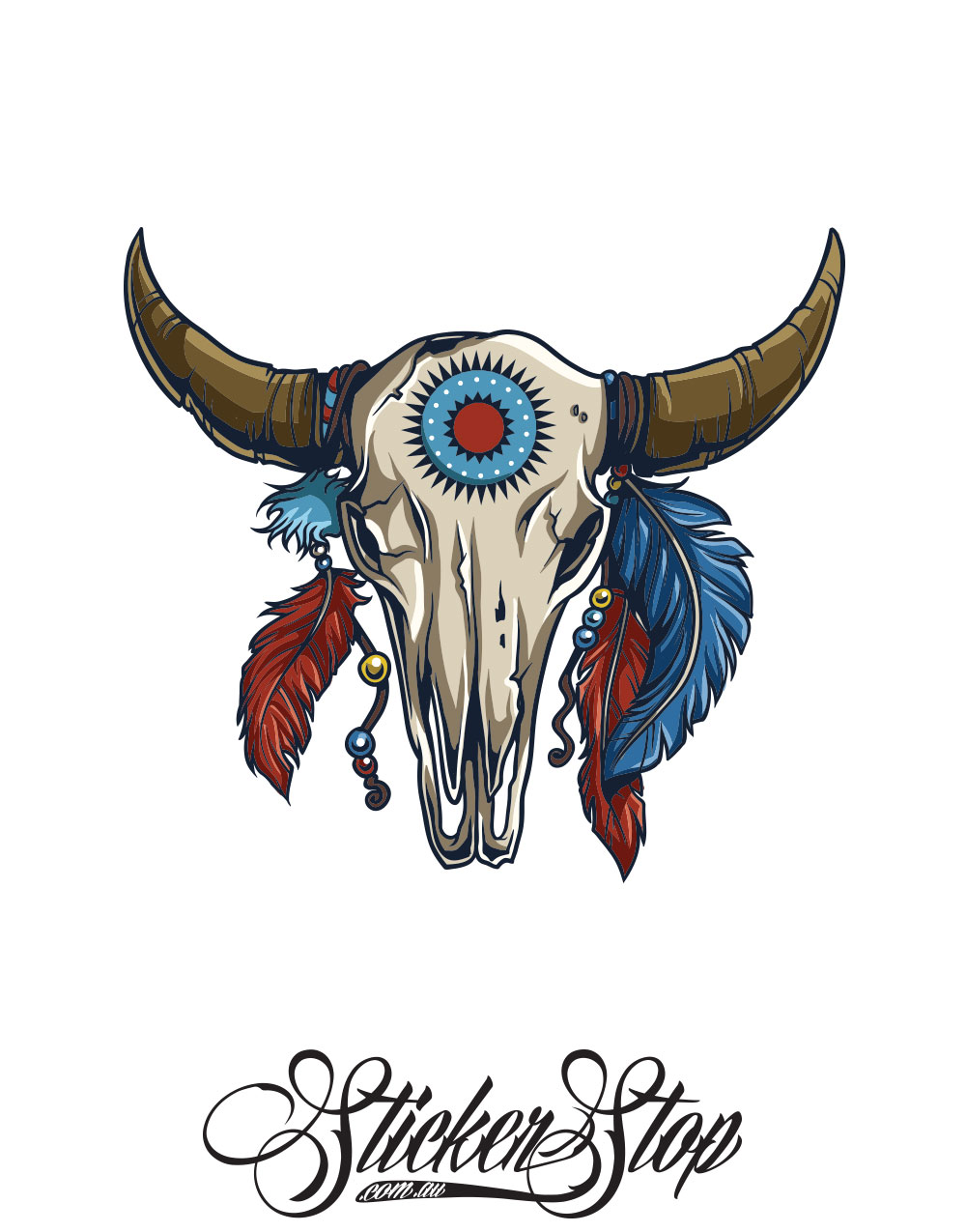 Animal Skull Native American Colour Sticker