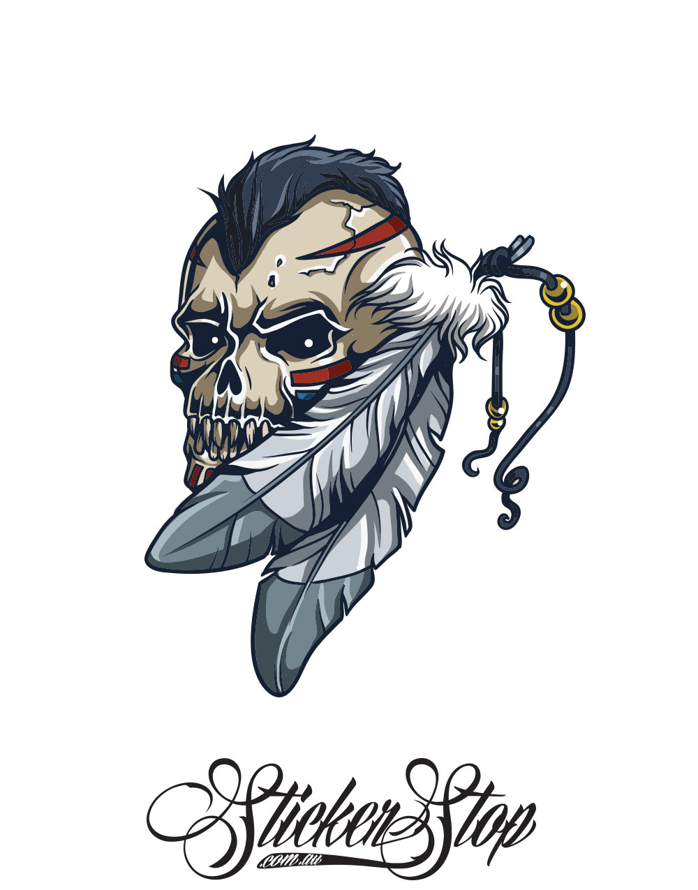 Skull Feathers Native American Colour Sticker