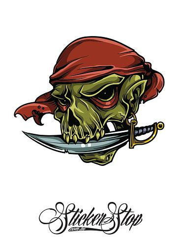 Pirate Dagger Colour Sticker