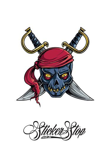 Pirate Swords Colour Sticker