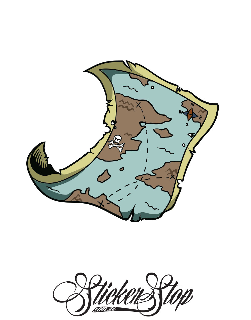 Pirate Map Colour Sticker