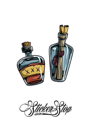 Pirate Bottles Colour Sticker