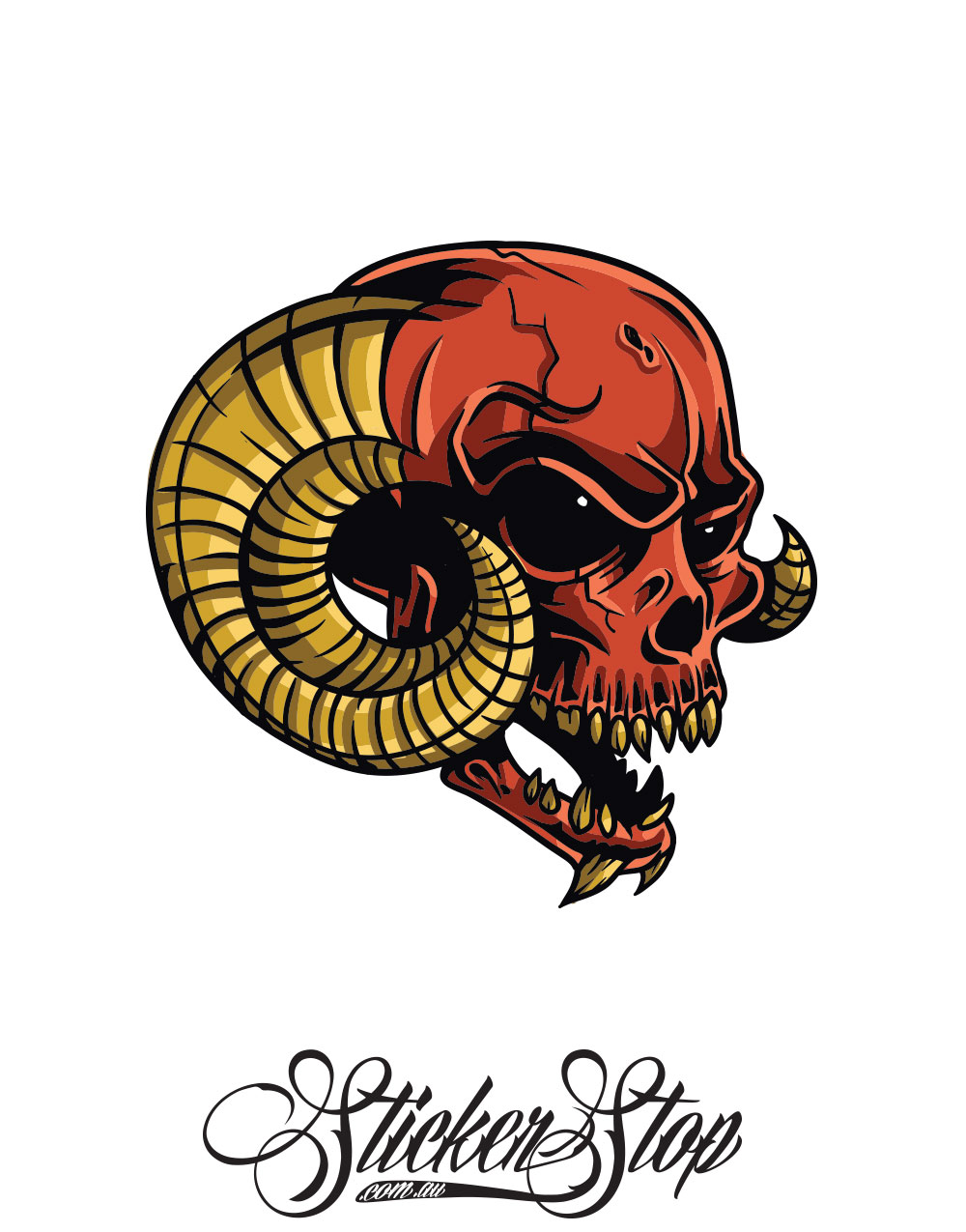 Horned Skull Colour Sticker