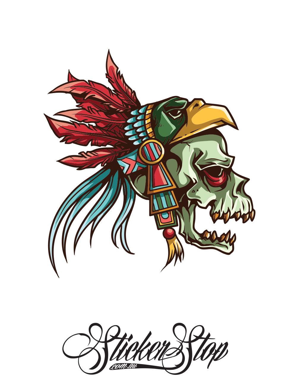 Feathered Skull Colour Sticker