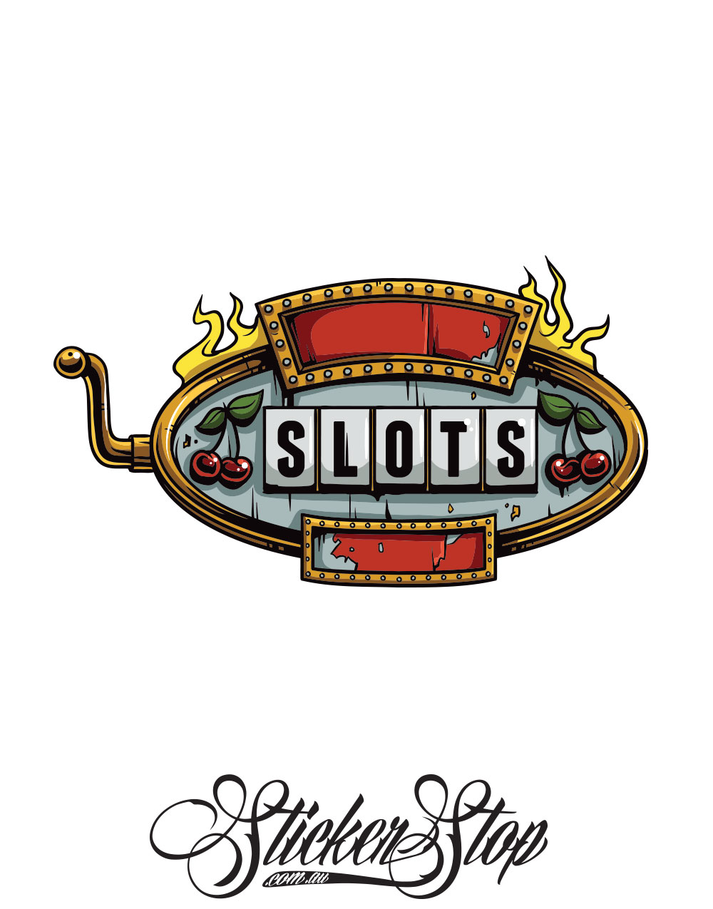 Slots Sign Gambling Colour Sticker