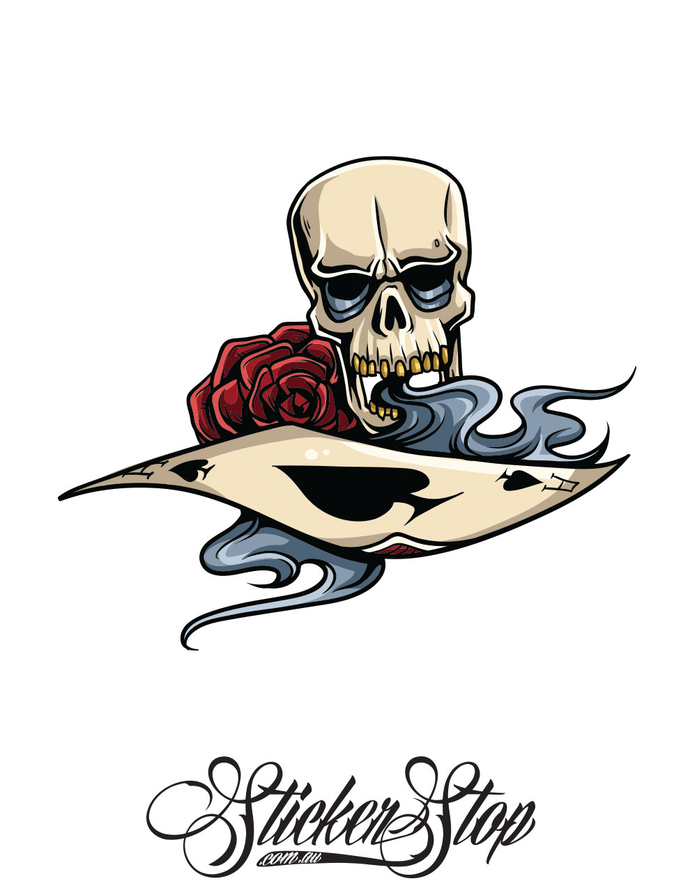 Skull Ace Gambling Colour Sticker