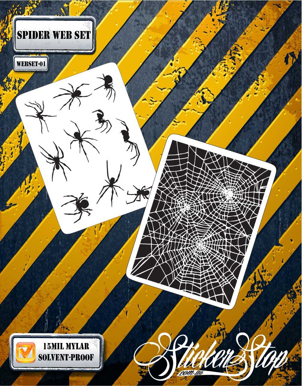 Spider Web Airbrush Stencil (Set 1)