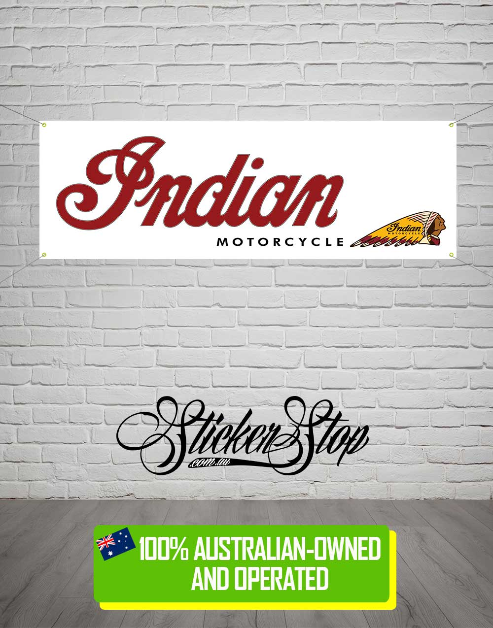Indian Motorcycle Banner for Mancave, Garage, Shed or Workshop