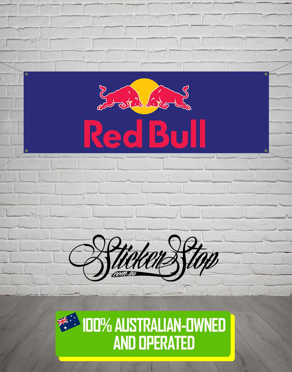 Red Bull Banner for Mancave, Garage, Shed or Workshop