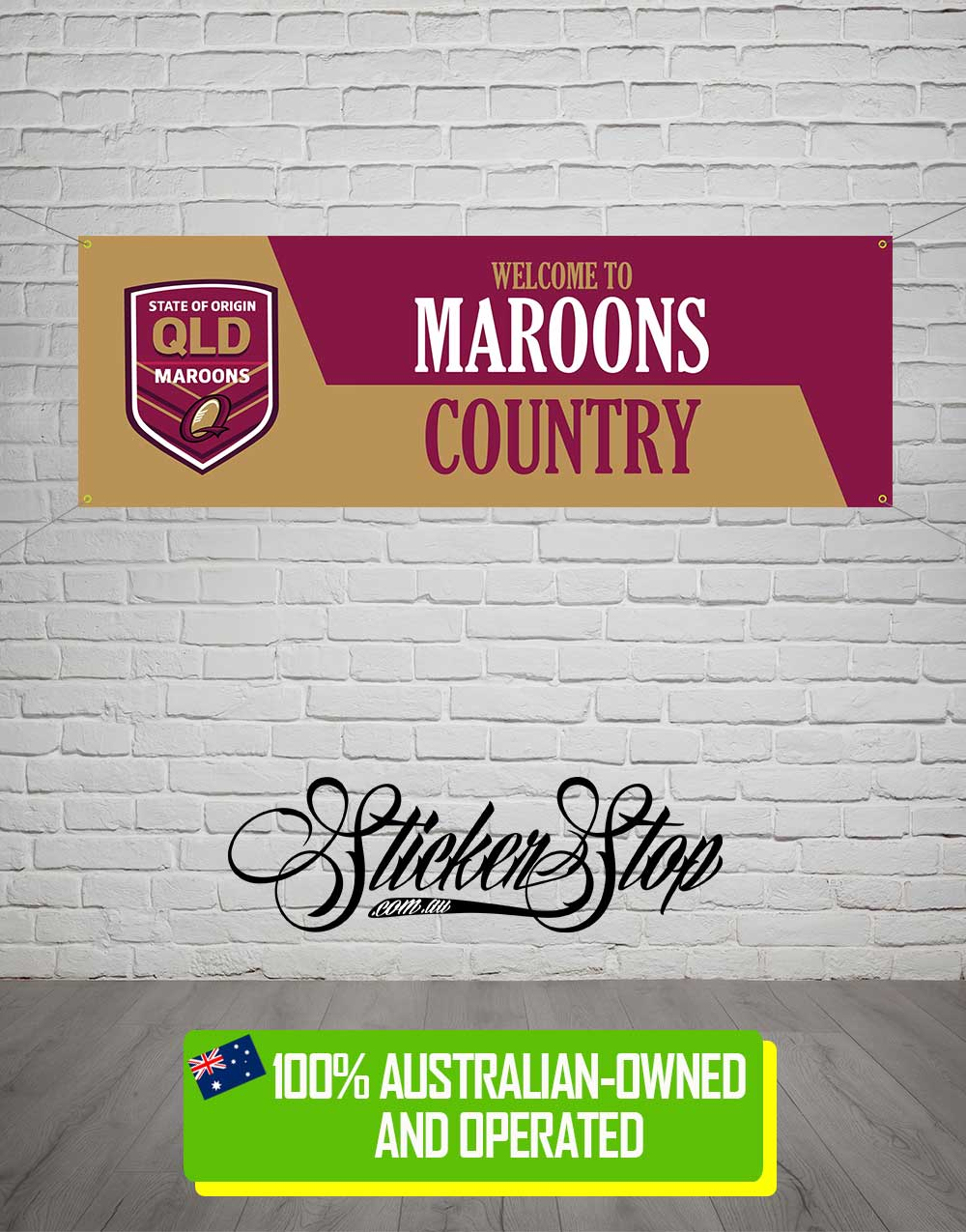 Queensland Maroons State of Origin Banner for Mancave, Garage, Shed or Workshop
